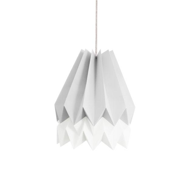 Origami Style Stripe Paper Lampshade Light Grey & White