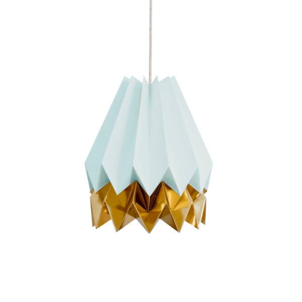 Origami Style Stripe Paper Lampshade Blue & Gold