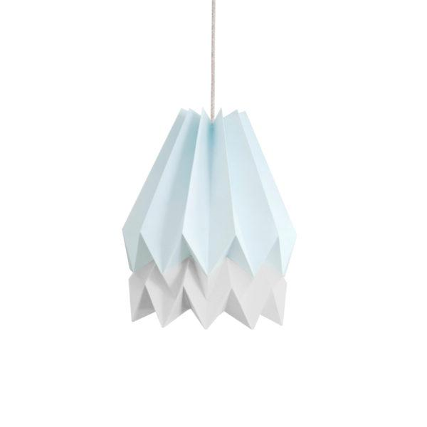 Origami Style Stripe Paper Lampshade Blue & Light Grey