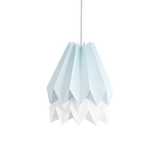 Origami Style Stripe Paper Lampshade Blue & White