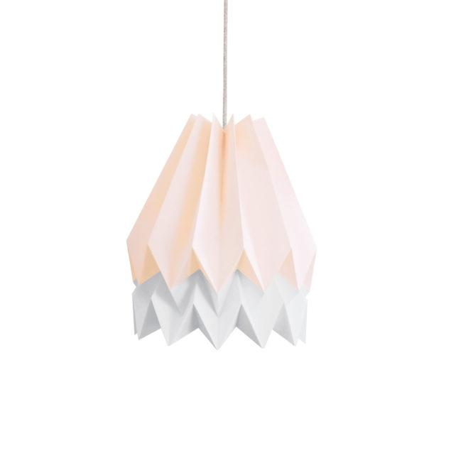 Origami Style Stripe Paper Lampshade Pink & Light Grey