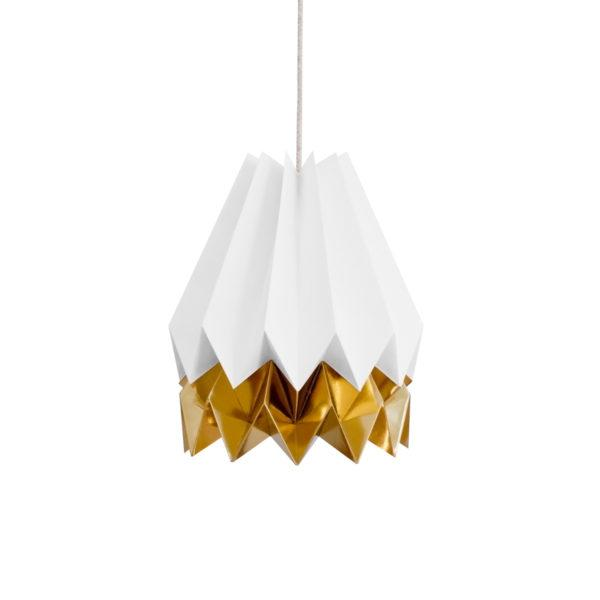 Origami Style Stripe Paper Lampshade White & Gold
