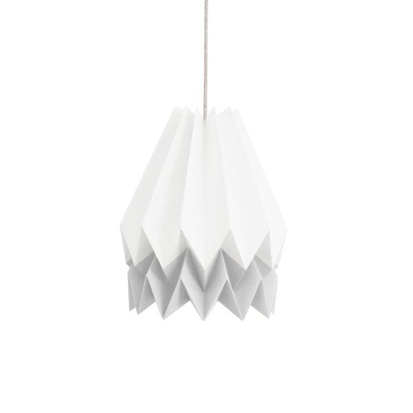 Origami Style Stripe Paper Lampshade White & Light Grey