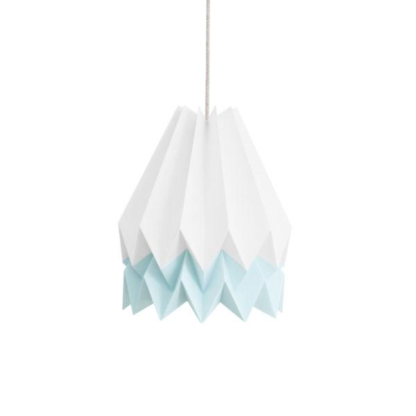 Origami Style Stripe Paper Lampshade White & Blue