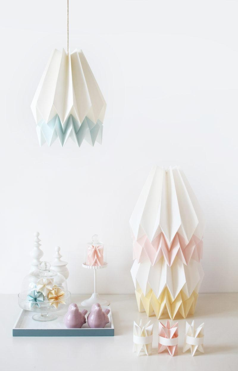 Origami Style Stripe Paper Lampshade Yellow & Light Grey