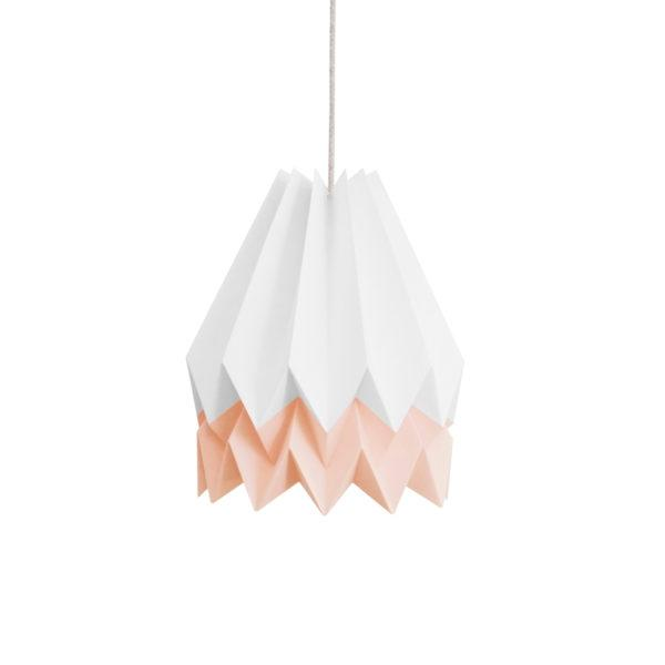 Origami Style Stripe Paper Lampshade White & Pink