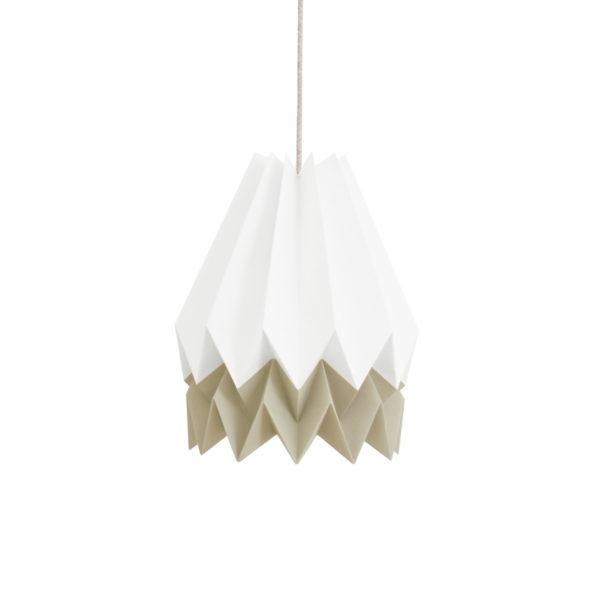 Origami Style Stripe Paper Lampshade White & Taupe