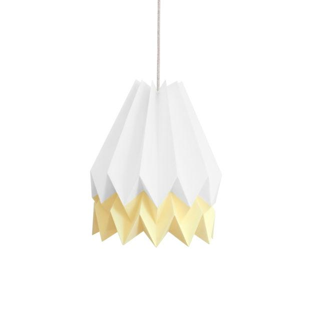 Origami Style Stripe Paper Lampshade White & Yellow