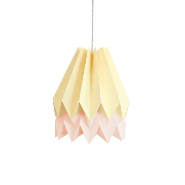 Origami Style Stripe Paper Lampshade Yellow & Pink