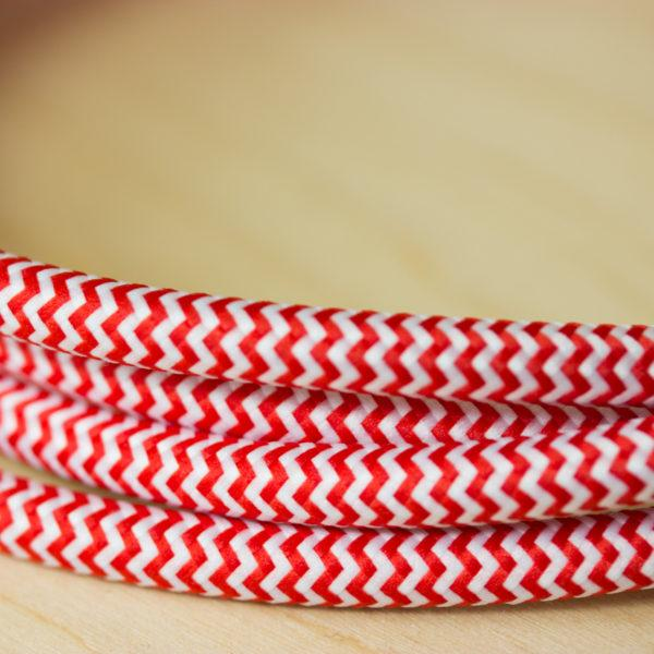 Fabric Braided Cable - Red Zig Zig