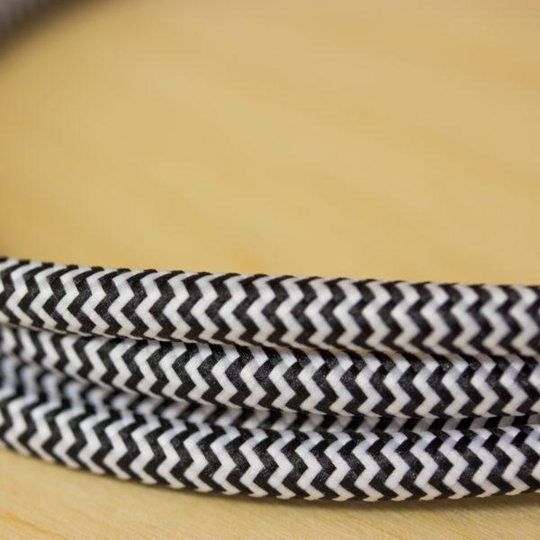 Fabric Braided Cable - Black Zig Zig