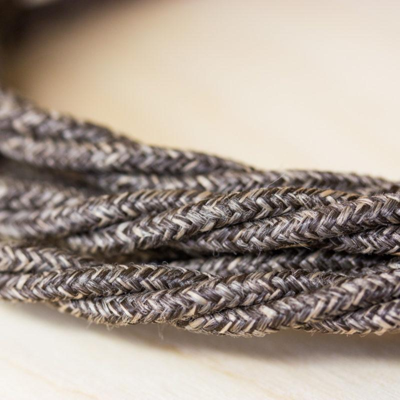 Fabric Braided Cable - Twisted Brown Linen