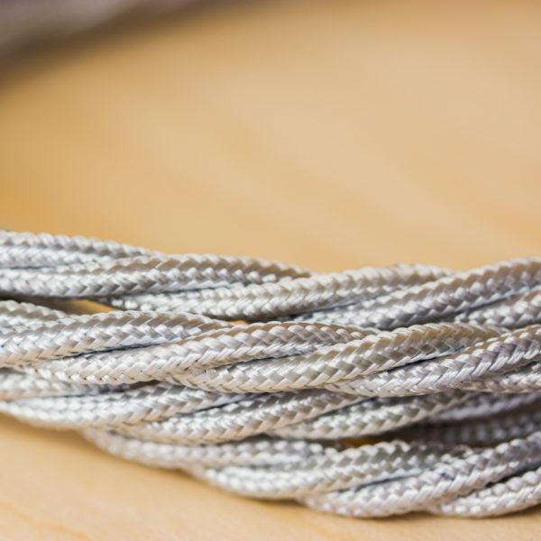 Fabric Braided Cable - Twisted Silver
