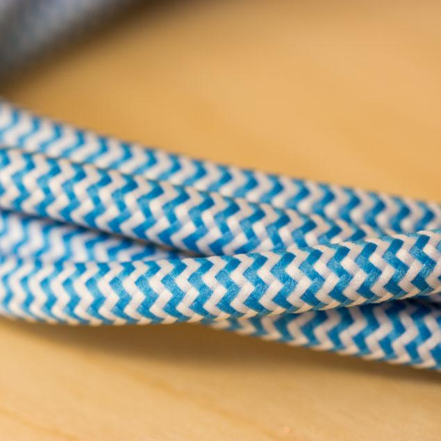 Fabric Braided Cable - Blue Zig Zig