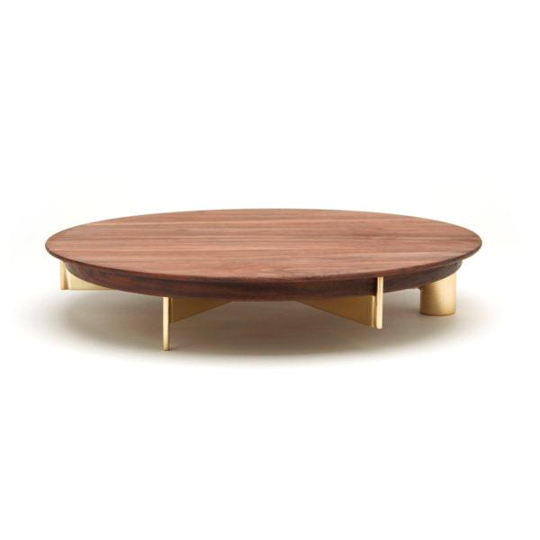 Brass Cake Stand with Large Walnut Board