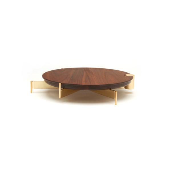 Brass Cake Stand with Medium Walnut Board