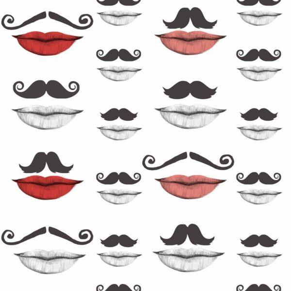 Moustache and Lips Wallpaper