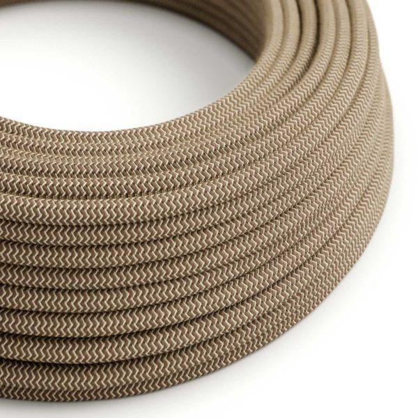 Fabric Braided Cable - Light Brown Linen