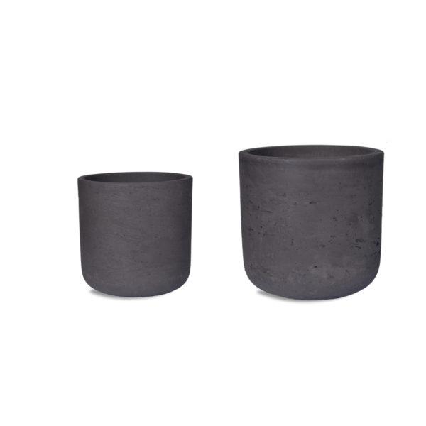 Stratton Set of 2 Stone Pots - Cocoa