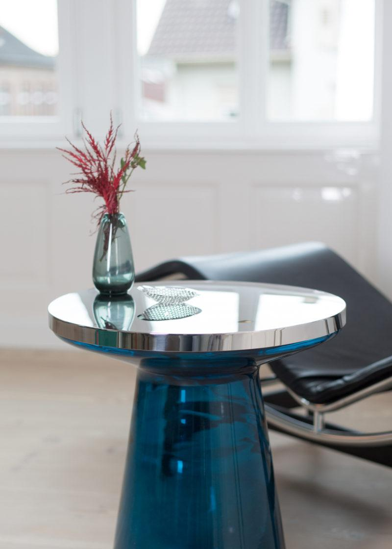 Figure Blue Glass Side Table