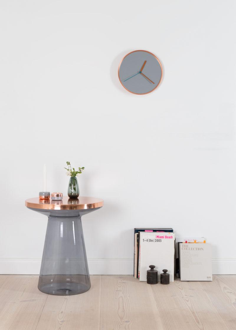 Thin Wall Clock - Copper & Grey