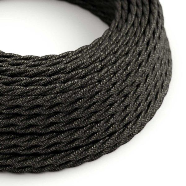 Fabric Braided Cable - Twisted Anthracite Linen