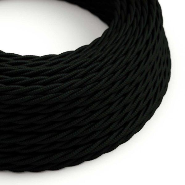 Fabric Braided Cable - Twisted Black