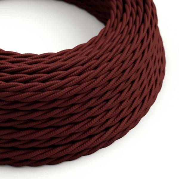Fabric Braided Cable - Twisted Burgundy