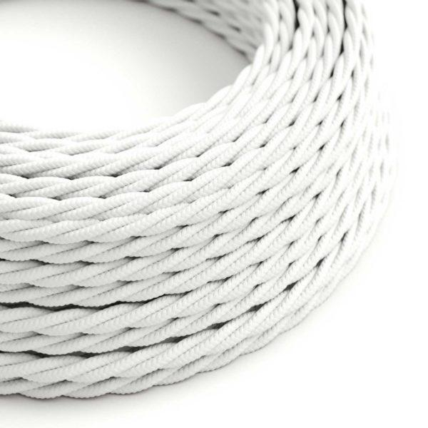 Fabric Braided Cable - Twisted White
