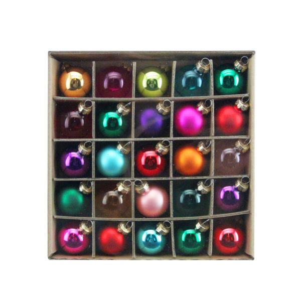 Multicoloured Glass Baubles box of 25