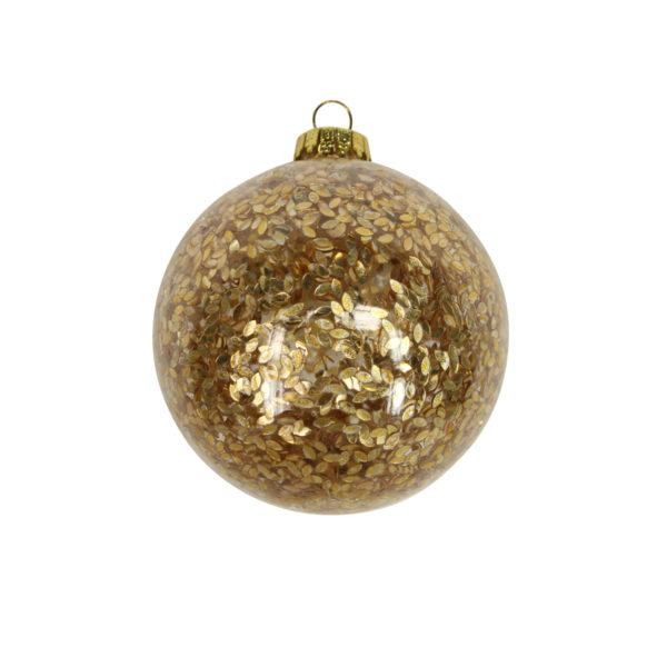 Clear Glass Bauble with Gold Confetti