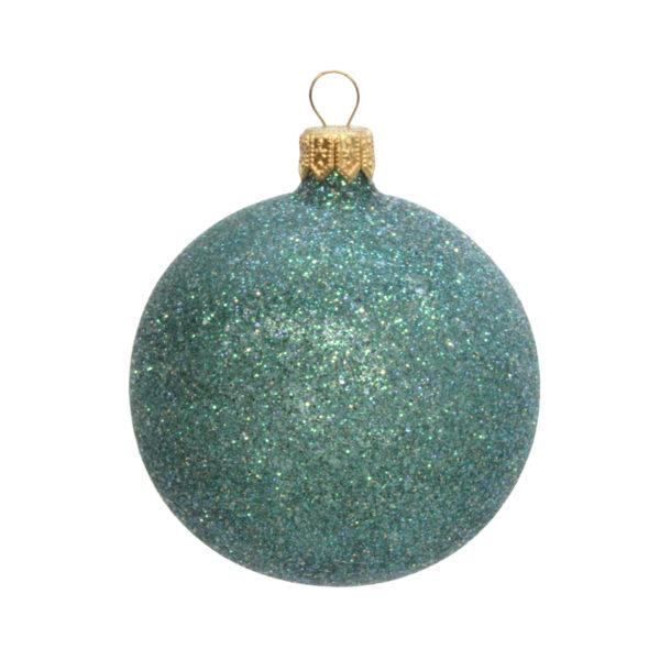 7cm Turquoise Glitter Bauble