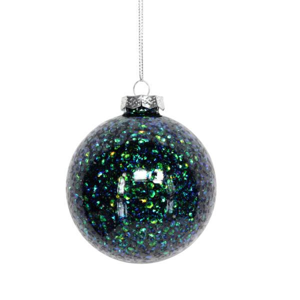 Peacock Sequin Glass Bauble