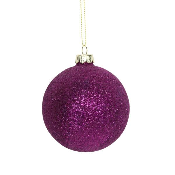 Purple Glitter Glass Bauble