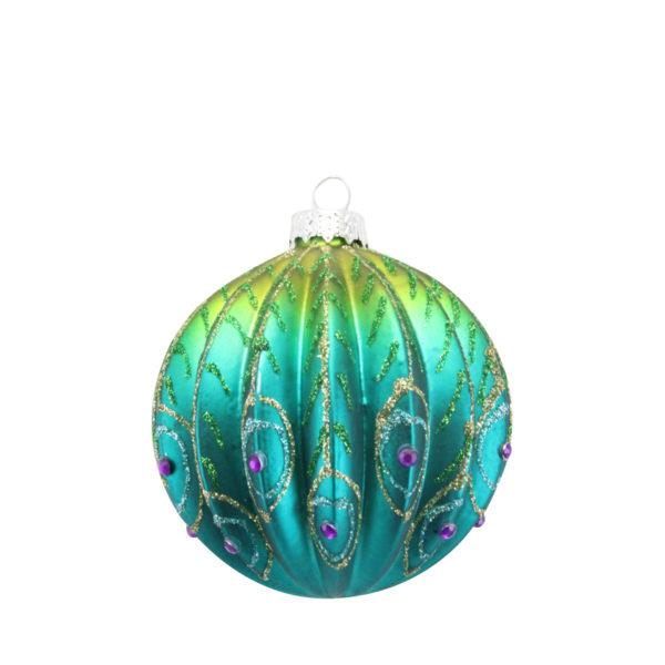 Ribbed Glass Peacock Bauble