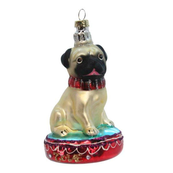 Painted Glass Pug on a Cushion Decoration