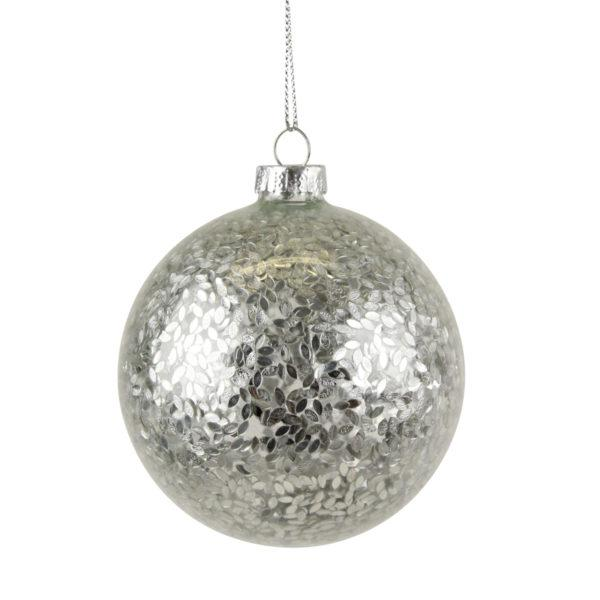 Clear Glass Bauble with Silver Confetti.