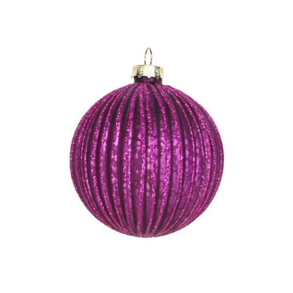 Purple Ribbed Bauble
