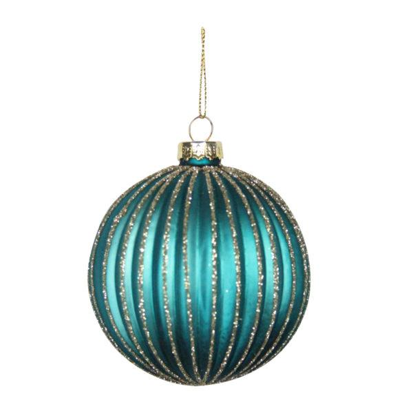 Gold Glitter Striped Bauble