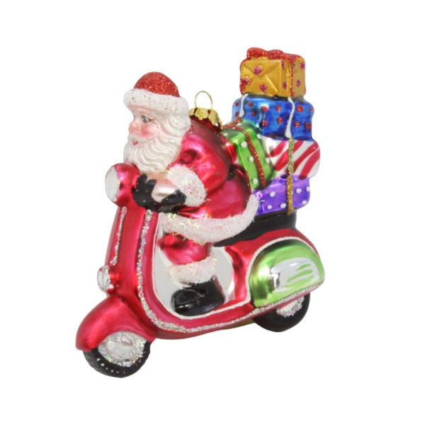 Painted Glass Santa on a Scooter Decoration