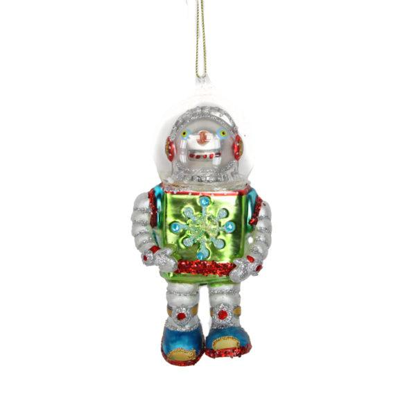Painted Glass Robot Snowman Christmas Tree Decoration