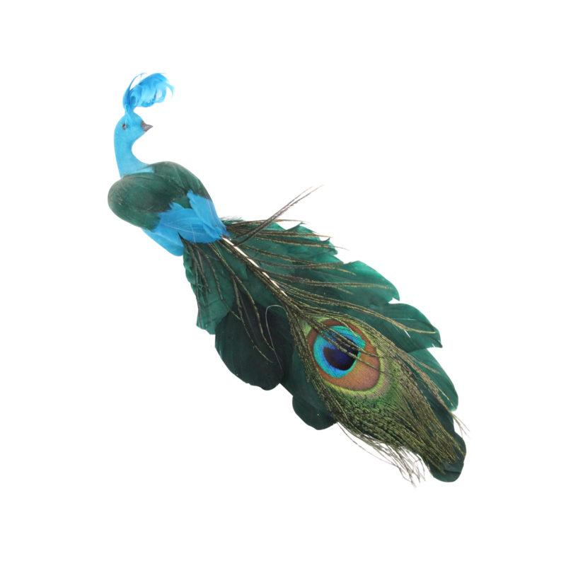 Feather Peacock Christmas Decoration on Clip