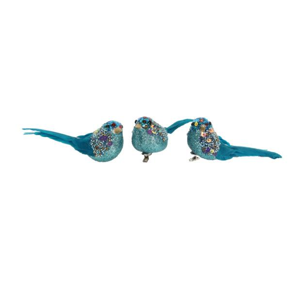 Turquoise Glittering Birds with Multi Beads Set of 3