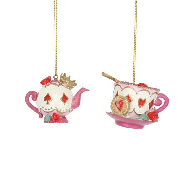 Alice in Wonderland Teapot & Cup and Saucer Tree Decoration Set of 2
