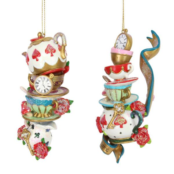 Alice in Wonderland Stacked Teapot & Cup and Saucer Decorations Set of 2