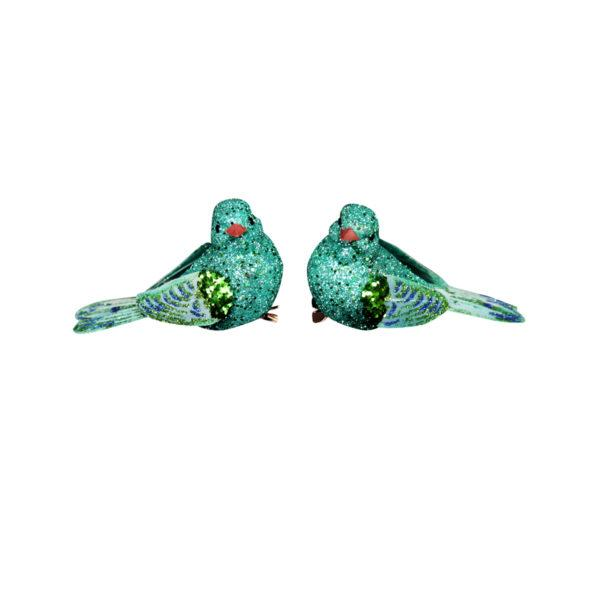 Turquoise Glitter Feather Bird on Clip Set of 2