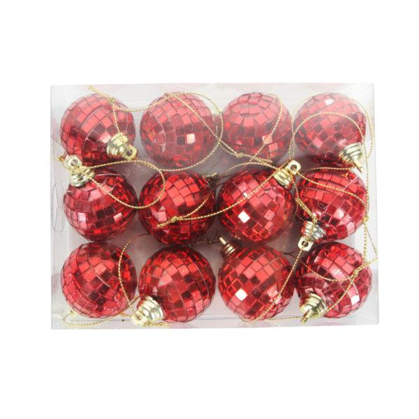 Red Mini Mirror Ball Decorations Box of 12