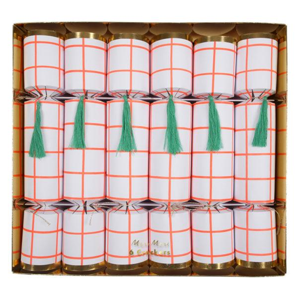 Coral Grid Pattern Christmas Crackers