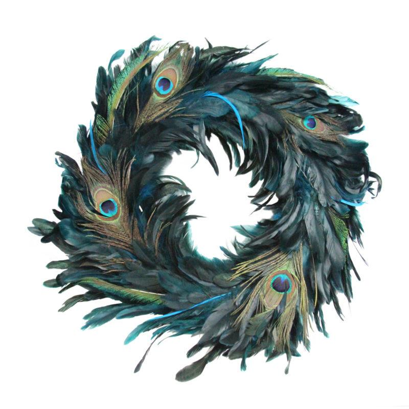 Deluxe Blue Peacock Feather Christmas Wreath