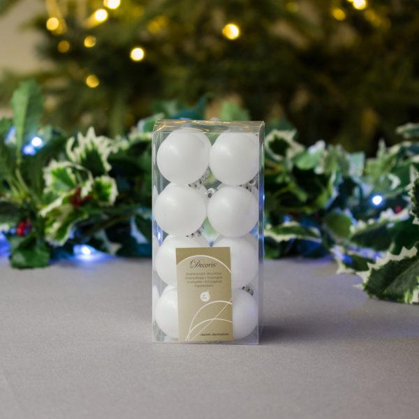 Winter White Baubles 4cm Pack of 16